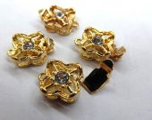 high quality 50pcs 10-12mm Metal cubic zirconia Clasp ,brass Clasp,flower clasp ,round,square