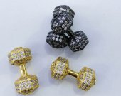 12pcs  22mm miro pave  cubic zirconia diamond  Live Lift Dumbbell Charms  Tone 3D Fitness Charm connector beads