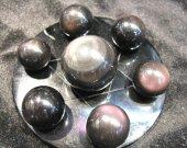 20-60mm 8sets natural Obsidian Sphere crystal round ball  rainbow obsidian gemstone +obsidian disc