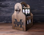 Wooden Beer Caddy Monogram, Personalized Beer Tote, 6 Pack Carrier, Beer Caddy, Beer Carrier, Gift for Him