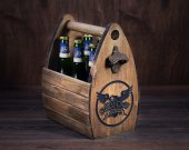 Wooden Beer Carrier with Logo, Barware, Bar Decor, Bar Accesory, Man Cave Decor, Storm Crow Alehouse, Six Pack for Geek