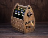 Beer Caddy, Personilized Beer Tote, Rustic Six Pack Beer Holder, Cowboy, Reclaimed wood, Country style