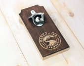 Personalized Wall Mounted Bottle Opener, Wooden, Groomsman, Best Man Gift, Magnetic Cap Catcher, Home Decor