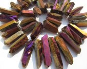Druzy agate gemstone 15-50mm full strand Natural Rock Quartz ,sharp spikes freeform matte AB Mystic purple  mixed bead
