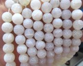 Wholesale 8 10 12 14 16mm full strand natural  Agate Gem Round Ball Cracked white  Matte Gemstone  Beads