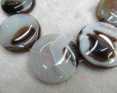wholesale  8 10 12 14 16 20 25 30 mm full strand  Natural Brazil  Agate Sardonyx Agate Carmerial round button coin white Black red bead