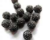 Hematite grey micro pave bling disco ball round spacer  bead Round Hematite Gunmetal Antique Silver Gold gunmetal Finding 20pcs 6-14mm