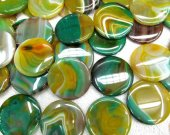 wholesale  20 25 30 35mm full strand  Natural Brazil  Agate Sardonyx Agate Carmerial round button coin green yellow jewelry bead