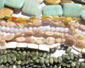 50%off--20strands Assorted gemstone gergous sunstone jade seastone amazonite chalcendony beads 6-25mm