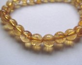 Handmade Natural Citrine bracelet round ball yellow jewelry bead 6 8 10 12 14 16mm one strand