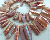 Peach red Druzy fancy agate gemstone 15-50mm full strand Natural Rock Quartz ,sharp spikes freeform matte gunmetal black mixed bead