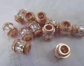 AAA GRADE 12pcs 10x15mm Micro Pave cubic zirconia beads Rice Barrel Drum silver gold gunmetal rose gold charm connector
