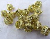 wholesale 50pcs 10-16mm Crown Cap Brass Florial Tassel Caps Finding,Cubuic Zirconia Pave Copper Silve gold Cap connetor
