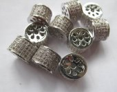 12pcs 9-14mm Micro Pave Cubic Zirconia  Gunmetal Beads  Spacer Beads Drum Tube Column Cubic Zirconia Pave Bead  connector beads