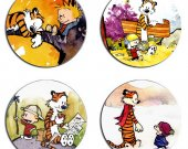 Calvin and Hobbes Set Of 4 Wood Drink Coasters