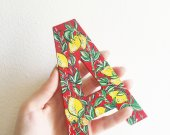 Hand painted wooden letter A, personalized gift, decorative botanical painting, Sicilian lemons