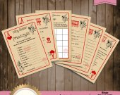 Printable Baby Shower Games Card Template, Alice in Wonderland Mad Hatter Vintage Playing Card Tea Party -  INSTANT Download