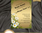 Rustic Bridal Shower Invitation, Daisies Invitation, Country Invite, Floral Bridal Shower Invitation, Gold - Printable, DIY, Digital File