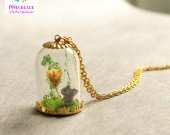 Cute Squirrel Dry flower Glass Pendant Necklace Jewelry