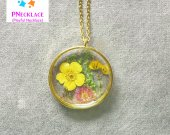 Natural Butterfly flower Pendant Wildflower Resin Necklace