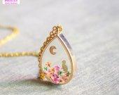 Wildflower Teardrop Pendant Cat Moon Necklace