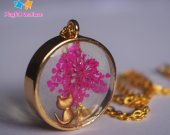 Real flower Cute Cat Round Pendant Necklace Gift Pink