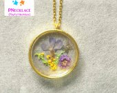 Pressed flower Round Resin Pendant Butterfly Necklace Jewelry