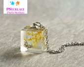 Handmade Cube Butterfly flower Pendant Silver Chain Necklace