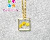 Simple Design Flower Pendant Square Gold Chain Necklace