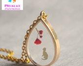 Cute Kittens Necklace Dry Flower Teardrop Jewelry