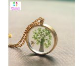 Spring Tree Necklace Natural Simple Round Pendant Green