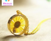 Real Sunflower Necklace Round Cat Pendant Gift Jewelry