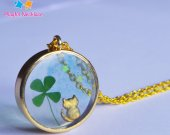 Real Clover Necklace Round Cat Pendant Gift Jewelry