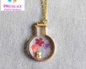 Unique Pressed flower Resin Necklace Cat Jewelry
