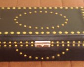 Handmade Leather Covered  Jewelry Case, Black with Beige vine print