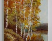 Autumn Birch Trees Original Oil Painting Fall Landscape Palette Knife River Forest Impasto Textured Art