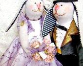 Tilda Bunny Rabbit, Collectible textile doll, Cloth doll, Stuffed doll, Couple bunnies, Rag doll, Unique gift