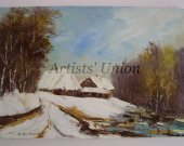 Winter Original Oil Painting Landscape Impasto Countryside Lake Trees Cottages Palette Knife Textured Art