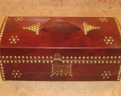 Handemade Deed Box with Mahogany Leather covering