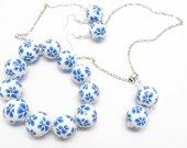 Jewelry Set, Blue Flower, Everyday Wear, Blue Earrings, Blue Jewelry, Blue Bracelet, Ball Earrings, Beaded Jewelry, Bead