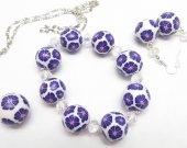 Jewelry Set, Violet Earrings, Everyday Wear, Trand Earrings, Violet Jewelry, Violet Bracelet, Ball, Beaded Jewelry, Bead