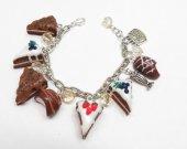 Sweet Cake Candies Bracelet, Valentine's Day, Cake Slices on Bracelet Chain, Polymer Clay, Modern Fashion Jewelry, Mini