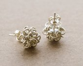 chain maille earrings, silver studs, chainmaille jewellery, metallic jewelry,  stud earring, Japanese Ball pattern