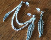 Wing Feathers Double Piercing Earring