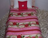 """Comforter Set For 18"""" Dolls Multi Color Roses & Hearts Handmade Lined Comforter Doll Accessory Matching Pillows Miniature Bedding/Bedspread"""