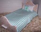 "Comforter Set For 18"" Dolls Mint Green Striped Handmade Lined Comforter Doll Accessory Matching Pillows Miniature Bedding/Bedspread"