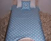 "Comforter Set For 18"" Dolls Blue Polka Dot Handmade Multi-Color Lined Comforter Doll Accessory Matching Pillows Miniature Bedding/Bedspread"
