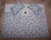 Miniature , Dollhouse , Comforter , Blue And White , Floral Print , 1:12 Scale , 3 Pillows , Handmade