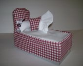 Bed Shaped , Tissue Box Cover , 2 Matching Pillows , Red/White , Novelty Item , Fabric Craft , Home Decor , Whimsical