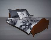 Dollhouse Miniature | Comforter Set | Pillows | Waverly | Toile Print Fabric | Grey Cotton Lining | Handmade | Bedding Set